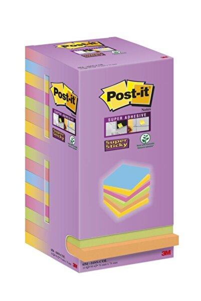 Post-it Super Sticky Yapışkanlı Not Kağıdı 76x76mm Renkli 16x90 Yaprak  16 Lı Paket
