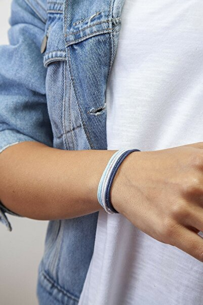 İsabella Accessories 3lü Kalın Ayarlanabilir Ip Bileklik - Lacivert, Mavi, Beyaz