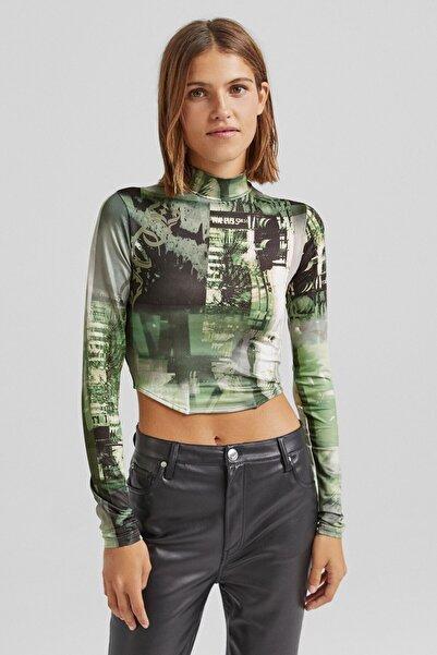 Bershka Uzun Kollu Ve Desenli Dik Yaka T-shirt