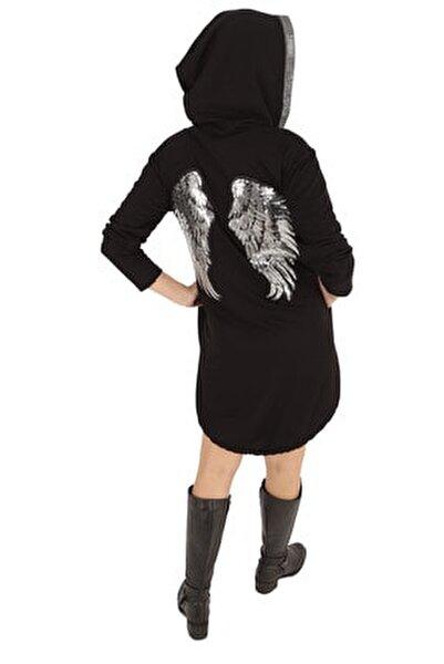 Kadın Siyah Sırtı Payetli Kapüşonlu Mini Sweat Elbise