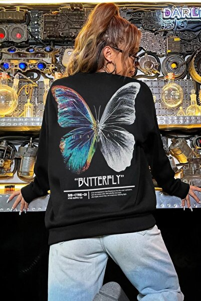 Millionaire Kadın Siyah Butterfly Oversize Sweatshirt