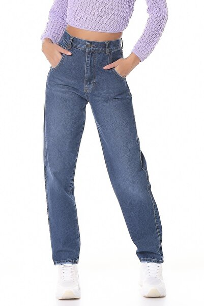 its basic Kadın Mavi Renk Baloon Fit Yüksek Bel Jean