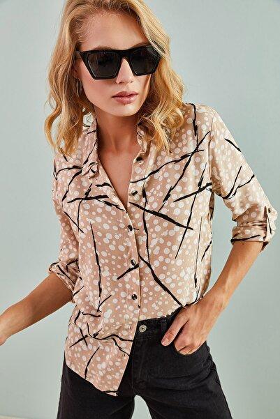 Bianco Lucci Kadın Kol Katlamalı Multi Desenli Gömlek