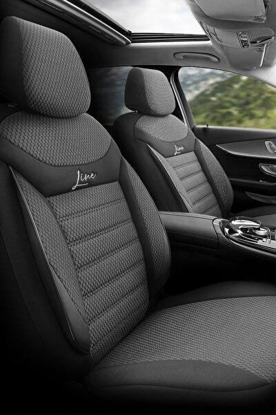 Otom Airbag Dikişli Ortopedik Ekstra Destekli Oto Koltuk Kılıfı Tam Set - Yeni Line Design Siyah-Gri