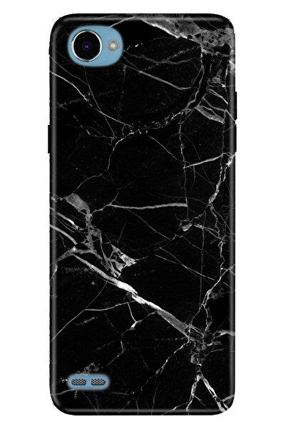 LG Q6 Kılıf Pure Modern Desenli Silikon Mermer Siyah
