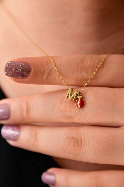 Papatya Silver 925 Ayar Gümüş Altın Kaplama 3d M Harf ve Uğur Böceği Kolye