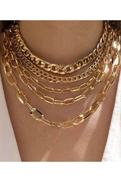Lealta Vita Altın Kaplama 5'li Kolye Kadın Çoklu Zincir Kolye Set