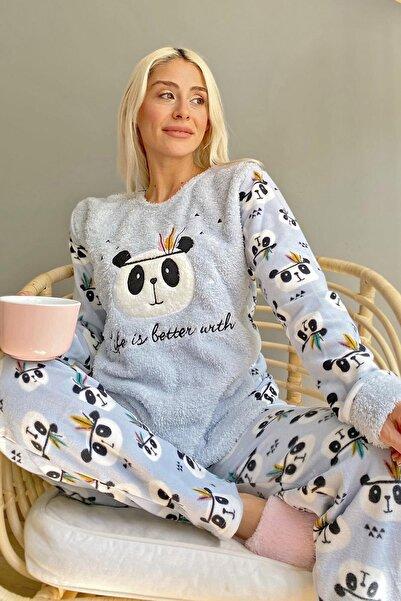 Pijamaevi Mavi Life Panda Desenli Kadın Peluş Pijama Takımı