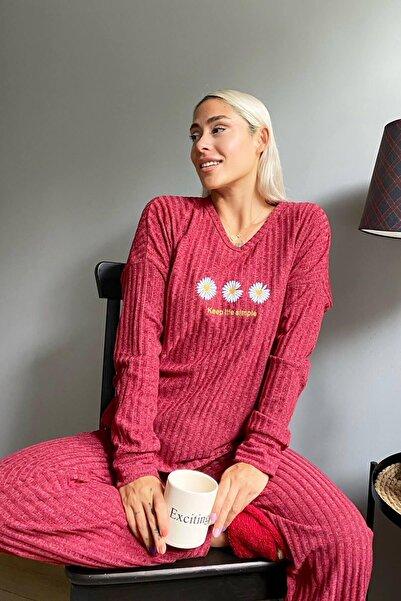 Pijamaevi Papatya Örme Uzun Kol Kadın Pijama Takımı