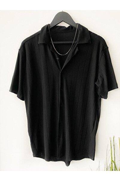 MARRAKECH Erkek Siyah Desenli Pamuklu Yazlık Kısa Kollu Gömlek