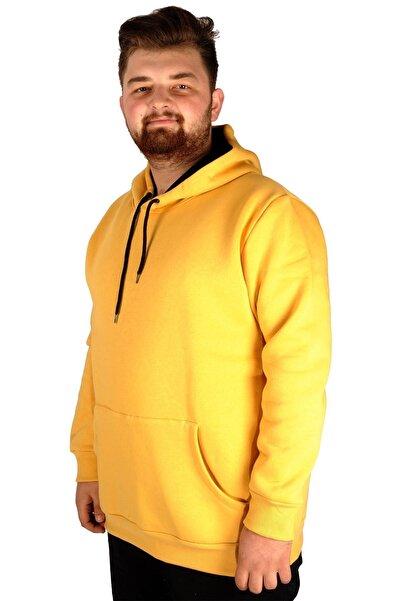 ModeXL Erkek Sweatshirt Kapşonlu Pocket Basic 20562 Hardal