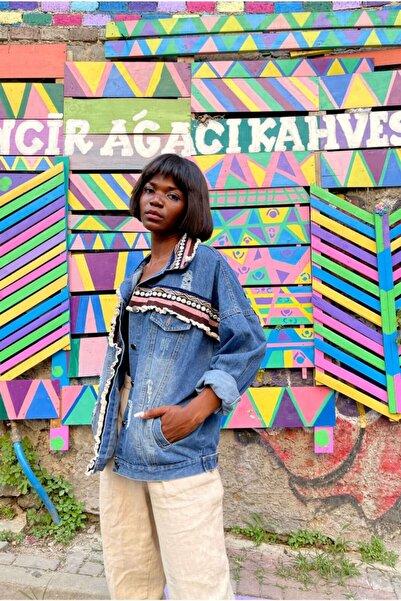 VorNişantaşı Kadın Özel Tasarım Etnik Şeritli Kot Ceket