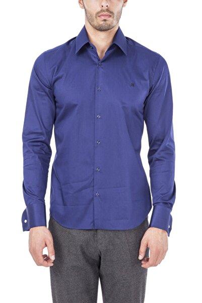 Avva Erkek Lacivert Düz Klasik Yaka Slim Fit Gömlek B002211