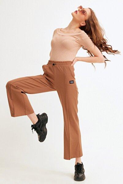 Fulla Moda Armalı Beli Lastikli Bol Kesim Pantolon