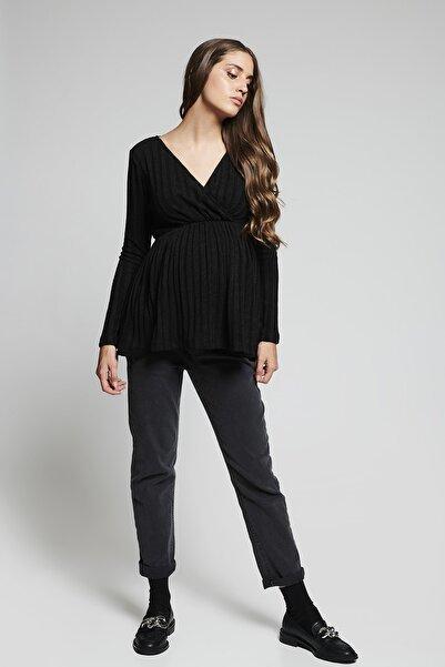 LYN MAMA Nikki Kruvaze Yaka Uzun Kol Siyah Hamile Bluz