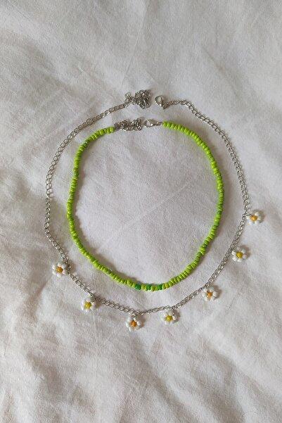 Lila's Store Kadın Yeşil Papatyalı Kararmaz Zincir 2'li Kolye Set