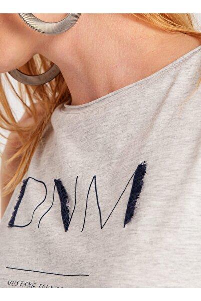 Mustang Kadın Gri Melanj Yuvarlak Yaka T-shirt