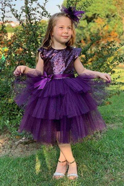 Pumpido Mürdüm Renk Pul Payetli Kız Çocuk Elbisesi