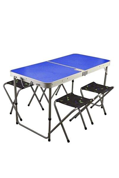 Kervancı Mavi Katlanır Portatif Piknik Masa Ve Tabure