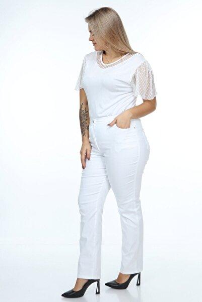 Buket Büyük Beden Beli Lastik Detaylı Beyaz Kanvas Pantolon