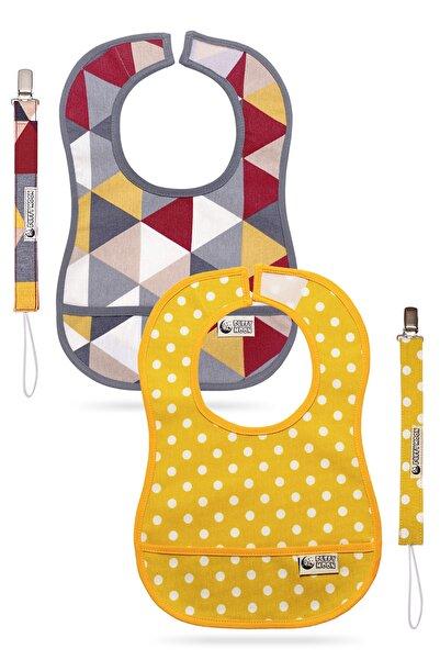 Puffy Moon Mama Önlüğü & Emzik Tutacağı 2'li Paket - Leke Tutmaz - Su Geçirmez - 6-24 Ay (oeko-tex Sertifikalı)