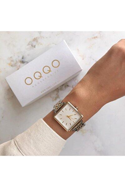 OQQO Great Gümüş Kasa Gümüş Altın Kordon Kadın Kol Saati