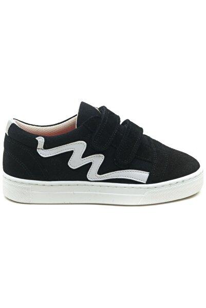 Minipicco Unısex Çocuk Siyah Deri Cırtlı Spor Ayakkabı