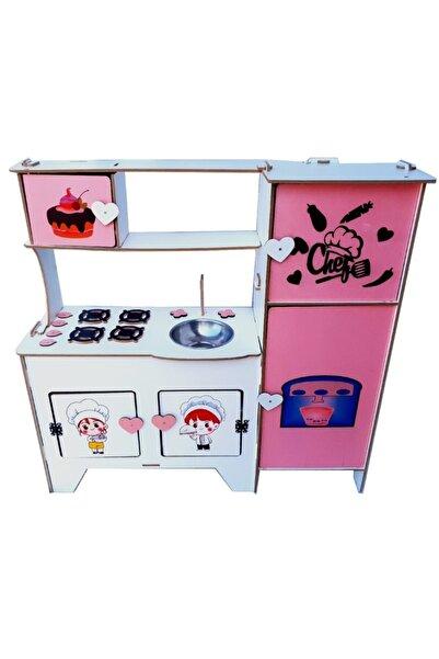 WoodyLife Uv Çocuk Desen Montessori Buz Dolaplı Ahşap Oyuncak Çocuk Mutfak Seti