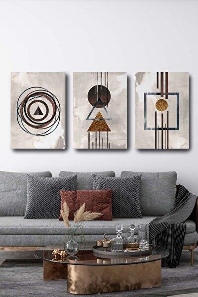 Blok Design Soyut Dekoratif Kanvas Duvar Tablosu 3'lü Set Sanatsal Tablo Seti