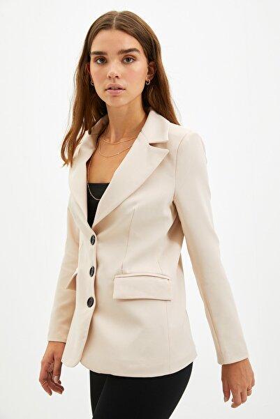 TRENDYOLMİLLA Vizon Düğmeli Blazer Ceket TWOAW22CE0168