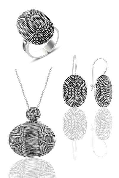 Söğütlü Silver Gümüş Salyangoz Modeli Oval Telkari Üçlü Set