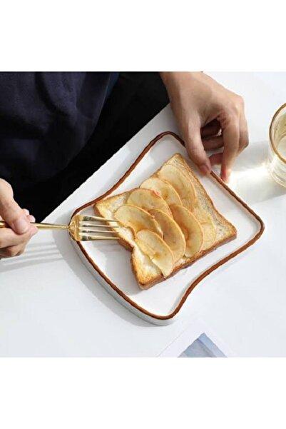 sinerjistore Büyük Boy Tost Tabağı Kahvaltı Sunum Tabağı Kahverengi Tabak Ekmek Tabağı