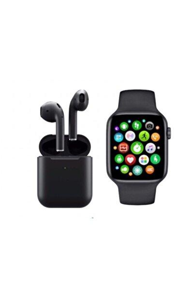 SmartWatch Unisex Siyah Akıllı Saat T500 + Airpods I12 Kablosuz Kulaklık Ikili