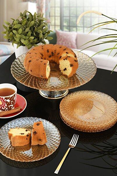 ANGDESİGN Belinda Cam Tatlı&kek Takımı 7 Parça Amber