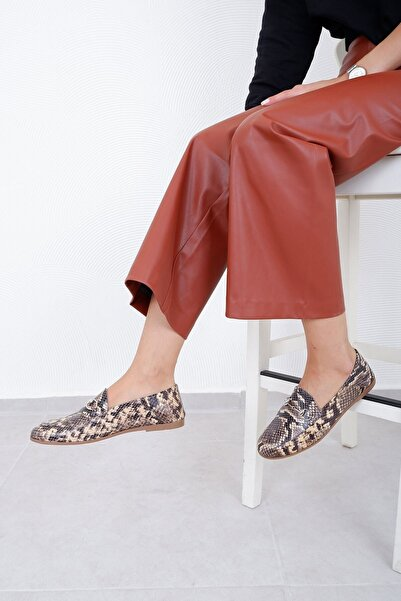 Tinka Bell Shoes F03 Kadın Babet Bej Yılan