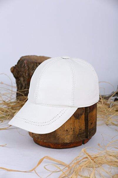 Jenkins Beyaz Hakiki Deri Beyzbol Şapka