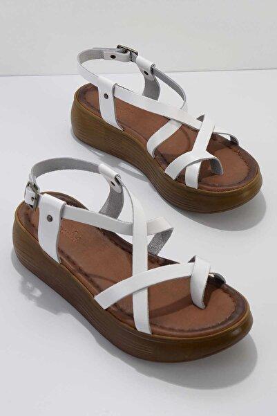 Bambi Kadın Beyaz Hakiki Deri Sandalet K05685051203
