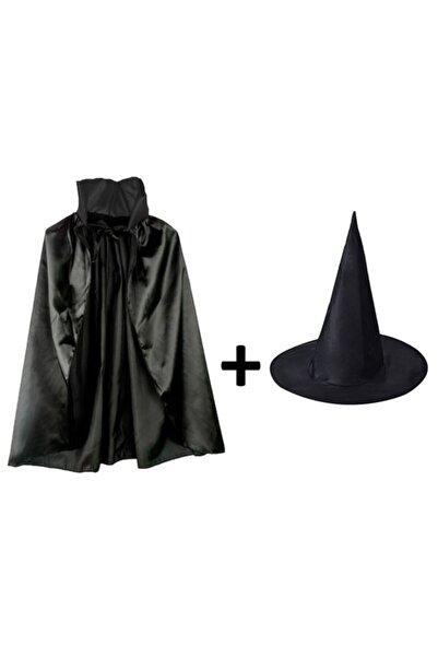 SoAndSo Siyah Pelerin Ve Siyah Cadı Şapkası Seti Çocuk Boy