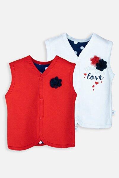 İmaj Kız Bebek Kırmızı Krem Love Baskılı İkili Yelek