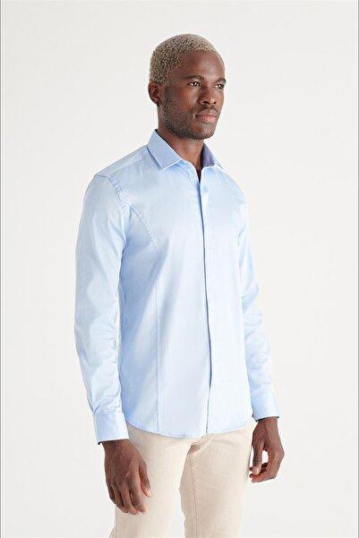 Avva Erkek Mavi Düz Alttan Britli Slim Fit Gömlek B002209