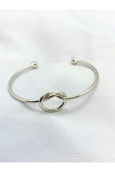 Defne Aksesuar Kadın Silver Düğüm Kelepçe Bileklik