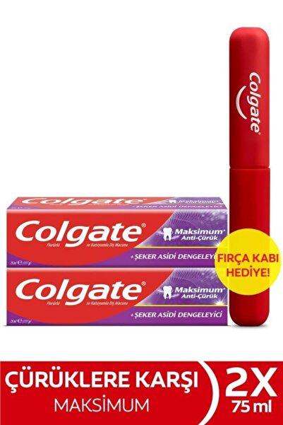 Colgate Maksimum Anti Çürük Şeker Asidi Dengeleyici Diş Macunu 75 Ml X 2 Adet + Fırça Kabı Hediye