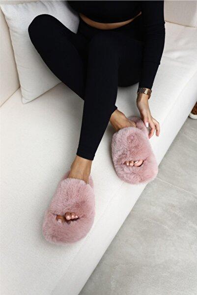 Cömert Ayakkabı Daffy Kadın Tüylü Ev Terliği Pudra