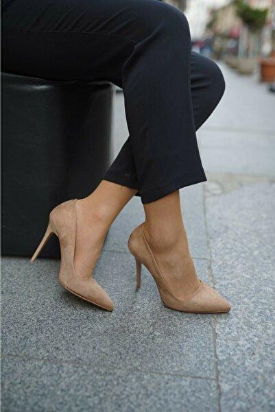 Sıraç Ayakkabı Süet Nude Stiletto Ince Topuklu Ayakkabı