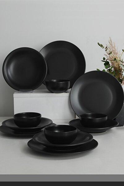 Keramika Ege Mat Siyah Yemek Takımı 12 Parça 4 Kişilik