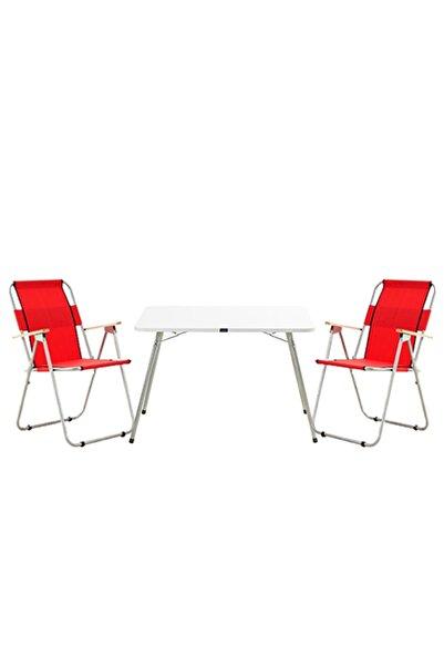 Byeren Piknik Seti -2 Ağaç Kollu Piknik Sandalye Kırmızı- 60x80 Piknik Masa Beyaz