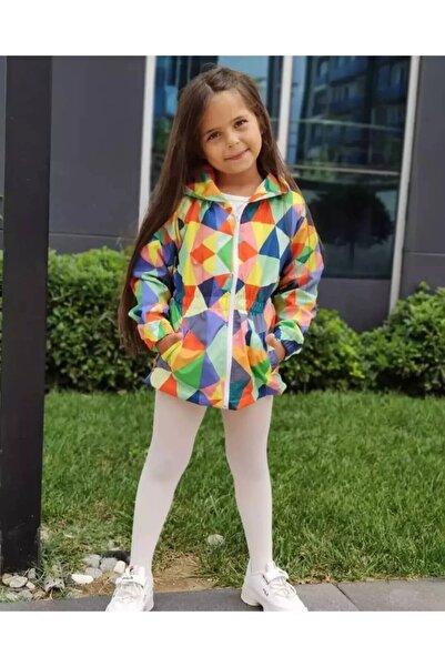 masalinrenkleributik Kız Çocuk Renkli Kelebek Detaylı Yağmurluk