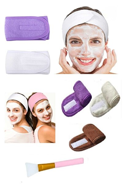 HANNAH Makyaj&yüz Temizliği&cilt Bakımı Için Saç Bandı Ve Silikon Maske Fırçası Beyaz