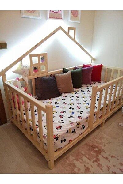 Baby Kinder Happy Doğal Çam Montessori Bebek ve Çocuk Karyolası