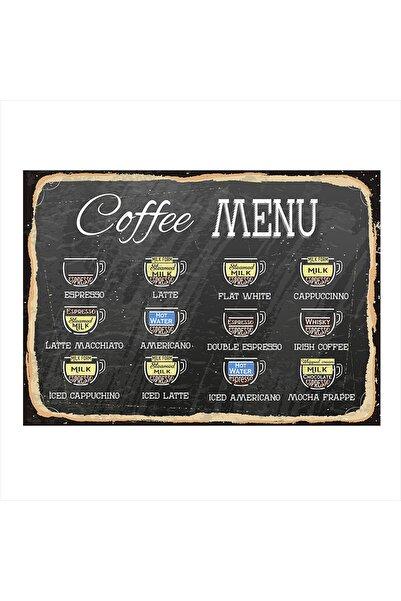 Tablomega Kahve Menüsü Desenli Mdf Tablo